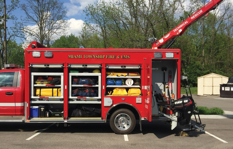 The 15-foot rescue body is constructed of all aluminum with a mix of roll-up and hinged doors with the type of door chosen based on what was to be stored inside. The first two compartments have roll-up doors and are transverse.