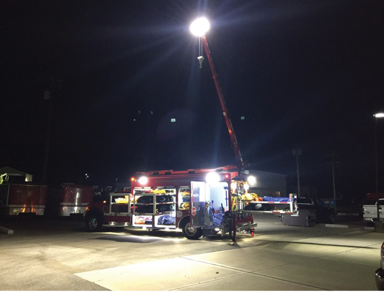 The crane is outfitted with a Will-Burt Scout 40,000-candle-power light head. The light head is powered by the vehicle's 12-volt electrical system with no generator or inverter needed.