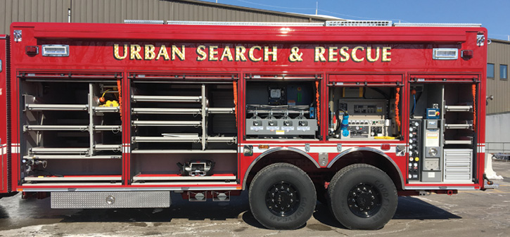 he Pierce-built USAR rig for Chula Vista carries a 40-kW generator, a light tower, an air tool compressor, and full breathing air capability with a compressor house in an over-the-wheel compartment.