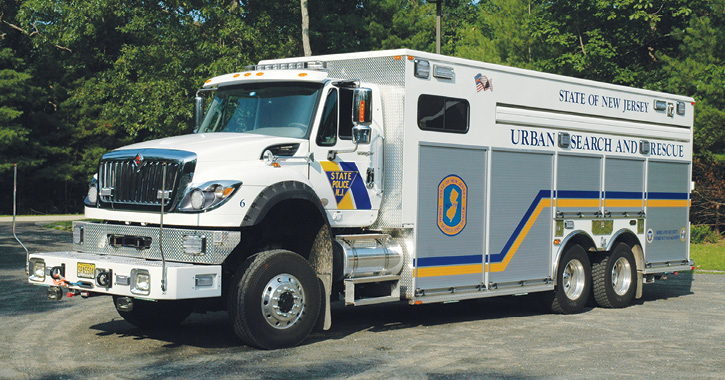 KME recently built a USAR truck for the New Jersey State Police that has a walk-in area at the rear of the vehicle to store fiber optic equipment used in confined space and collapse situations.