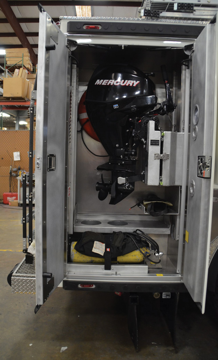 The Mercury outboard motor for the rigid-hull inflatable boat on the NYPD ESV is located in the R3 compartment.