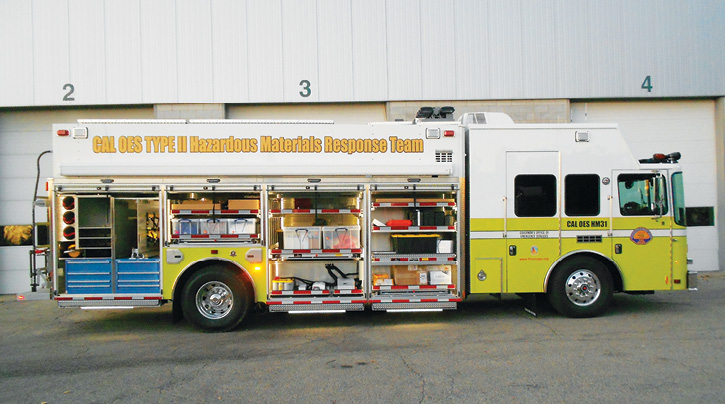 HME Ahrens-Fox built a dozen hazmat trucks for the California Governor's Office of Emergency Services (OES).