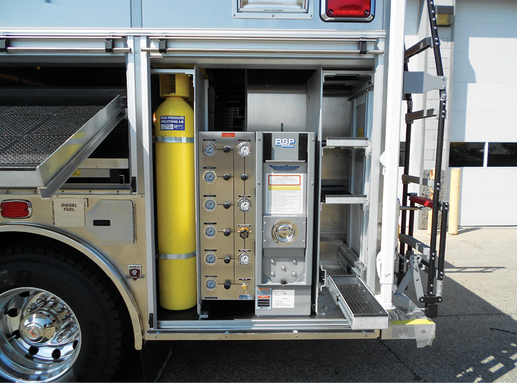 The CAL OES hazmat vehicles built by HME have Resolve Specialty Products breathing air systems