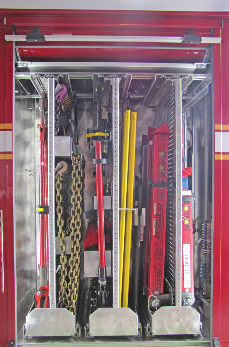 4 Guys Fire Trucks built a technical rescue truck for the Saw Mills (NC) Fire Department that incorporates many sliding tool boards for technical rescue equipment.