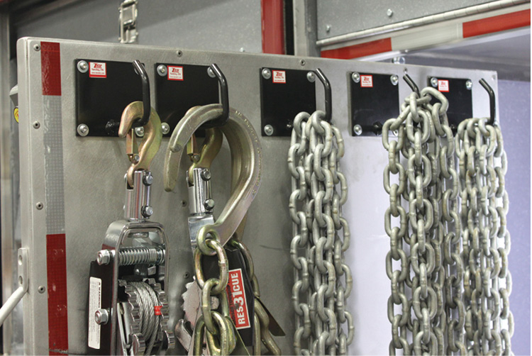Ziamatic Corp. makes a chain hook fixture that is widely used on technical rescue trucks and USAR vehicles.