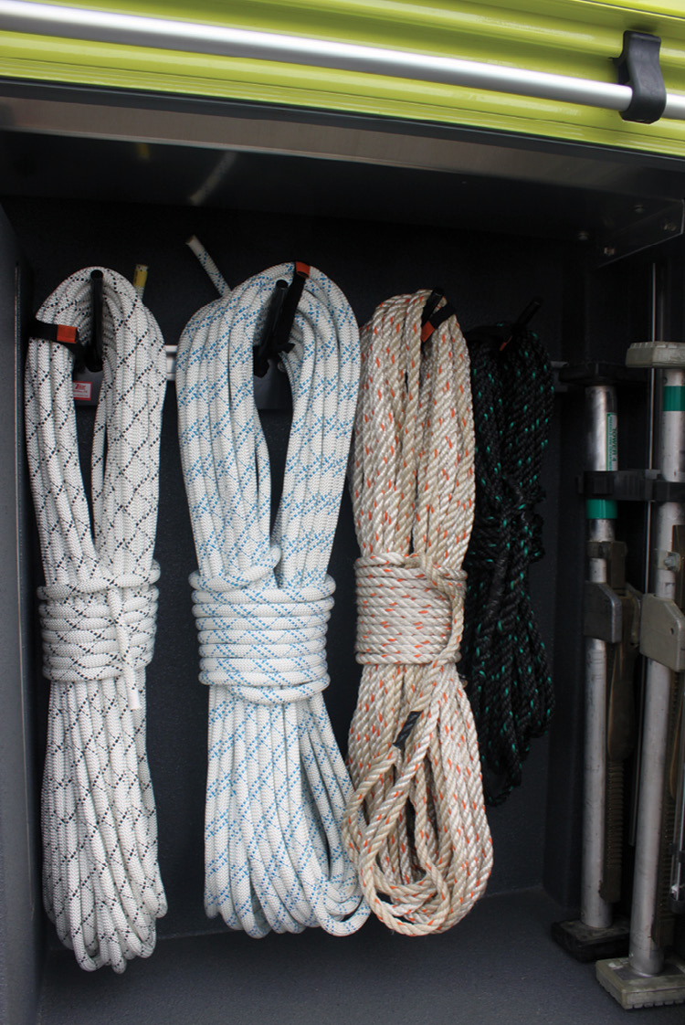 Ziamatic also makes a QM-AH Adapter Hanger that many technical rescue teams use to hang rescue ropes