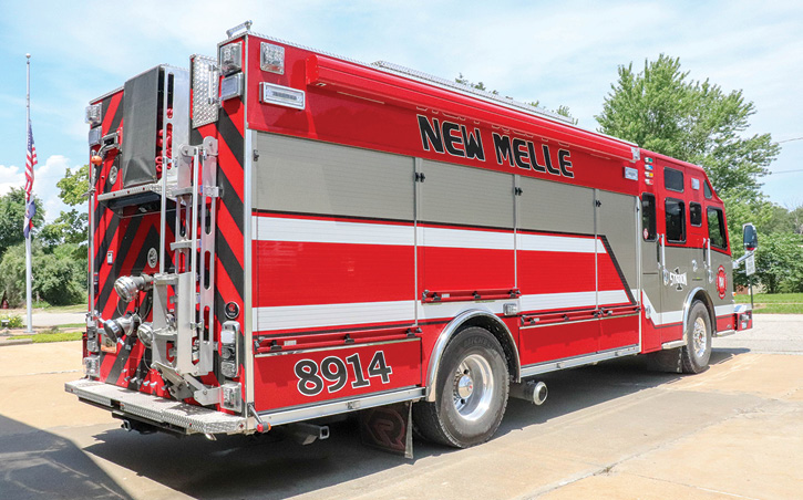 The New Melle rescue-pumper is powered by a 505-hp X15 diesel engine and an Allison 4000 EVS automatic transmission.