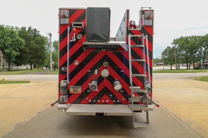 The rear-mount rescue-pumper has a Hale RSD 1,750-gpm single-stage pump, a 750-gallon water tank, a 40-gallon foam tank, a Hale SmartFOAM system, a SAM Control System, and a Pneumax 200-cfm CAFS