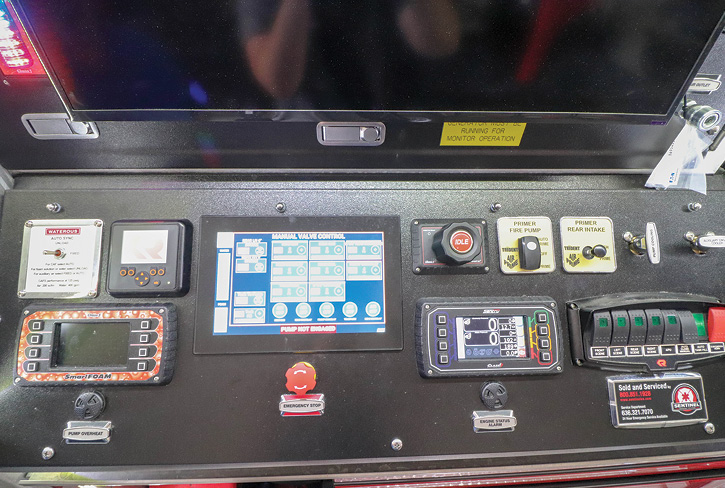 A closeup of the SAM Control System on the rear-mount rescue-pumper.