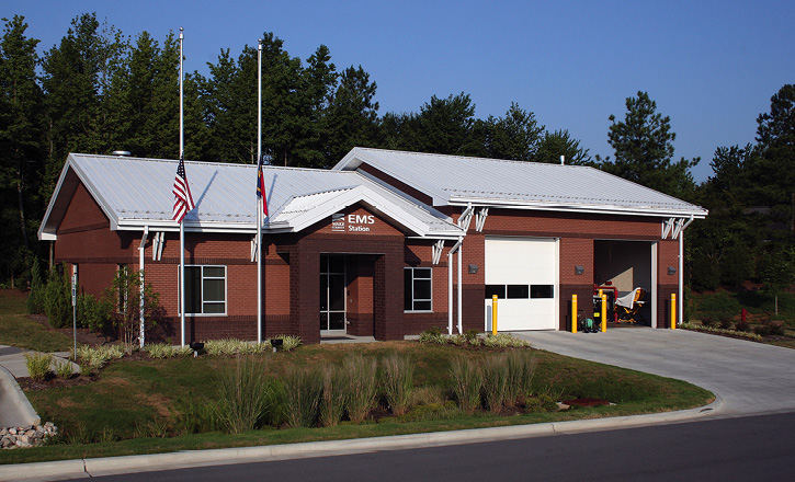 Stewart-Cooper-Newell Architects designed this EMS station for Wake County-Durant Road (NC) EMS. (Photos 1-4 courtesy of Stewart-Cooper-Newell Architects.)