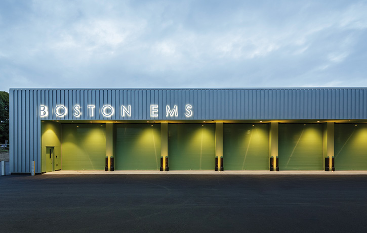 The Galante Architecture Studio designed an 11-bay double deep EMS station for Boston (MA) EMS that houses 20 ambulances and a mass-casualty bus. (Photo courtesy of The Galante Architecture Studio.)