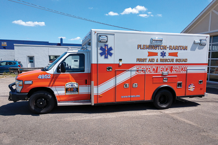 PL Custom built this Type III ambulance for Flemington-Raritan (NJ) First Aid & Rescue Squad on a Ford E-450 Super Duty chassis and a 170-inch Medallion body with 72 inches of interior headroom. (Photos courtesy of Flemington-Raritan First Aid & Rescue Squad.)