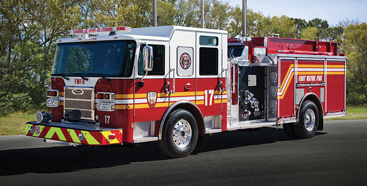 Pierce—Fort Wayne (IN) Fire Department pumper. Saber cab and chassis; Cummins L9 450-hp engine; Waterous CSU 1,250-gpm pump; UPF Poly 750-gallon water tank; Whelen warning lights and scene lights. Dealer: Garry Davis, Global Emergency Products, Whitestown, IN.