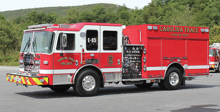 KME—Carolina Trace (NC) Volunteer Fire Department pumper. Predator Panther cab and chassis; Cummins L9 450-hp engine; Waterous CSU-C20 1,500-gpm pump; UPF Poly 1,000-gallon water tank; Amdor roll-up compartment doors; AXIS™ Smart Truck vehicle monitoring system; Whelen scene lights and warning lights package. Dealer: Chad Donaldson, SAFE Industries, Easley, SC.
