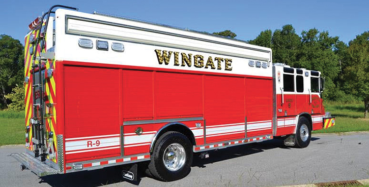 Hackney Emergency Vehicles—Wingate (NC) Fire Department heavy rescue. 2000 Pierce Quantum repurposed cab and chassis; 20-foot Hackney walk around 11-compartment rescue body with drop-pinch frame construction; Onan 25-kW generator; Command Light KL415A-W2 light tower; Whelen LED NFPA warning light package; Spacesaver with 4-bank cascade fill station. Dealer: Neal Dixon, Hackney Emergency Vehicles, Washington, NC.