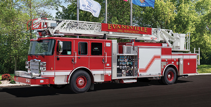 Pierce—Evansville (IN) Fire Department 75-foot heavy-duty aerial ladder quint. Enforcer cab and chassis; Detroit DD13 525-hp engine; Waterous CSU 1,500-gpm pump; UPF Poly 500-gallon tank; Harrison 6-kW generator. Dealer: Tim Learned, Global Emergency Products, Whitestown. IN.