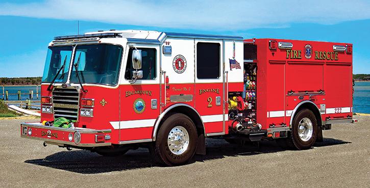 KME—Edgartown (MA) Fire Department PRO pumper. Predator Severe Service XLFD cab and chassis; Cummins L9 450-hp engine; Waterous CX 1,500-gpm pump; UPF Poly 750-gallon water tank; 20-gallon foam cell; Waterous Aquis Class A foam system; Harrison 6-kW generator; Lock-N-Load™ sliding hosebed cover. Dealer: Bulldog Fire Apparatus, Woodville, MA.
