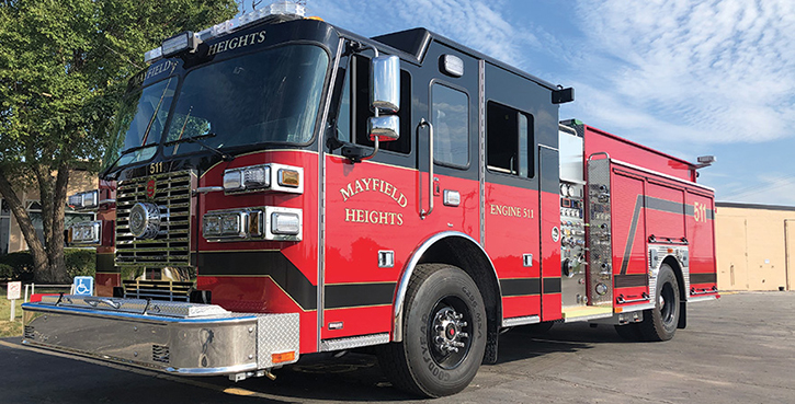 Sutphen—Mayfield Heights (OH) Fire Department pumper. Monarch cab and chassis, Cummins L9 450-hp engine; Hale Qmax 1,500-gpm pump; Pro Poly 750-gallon polypropylene water tank; 30-gallon foam cell; low hosebed; hydraulic ladder rack. Dealer: Bob Jones, Herb Fire Equipment, Powell, OH.