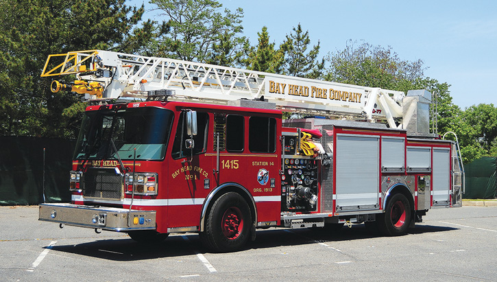 The various types of Ferrara aerial devices that FF1 has delivered. The Bay Head Fire Company in Ocean County, New Jersey, runs a Ferrara quint with a 77-foot rear-mount aerial, a 1,500-gpm pump, and a 500-gallon tank. It has a 210-inch wheelbase and is a popular size aerial device in New Jersey.