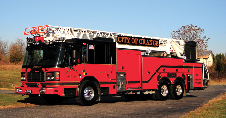Ladder Company 1 of the Orange (NJ) Fire Department has a 102-foot straight rear-mount aerial. It has an 11-foot 3-inch overall height.