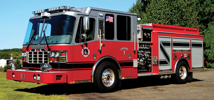 """The various """"straight"""" engines (aka pumpers) delivered by FF1 to career or combination New Jersey fire departments. The career engines appear to be short wheelbased, no frills, basic rigs set up for hose humping. The wheelbases on the following rigs are 185 inches, 185 inches, 181 inches, 193 inches, and 188 inches. All have black vinyl (or coated) pump operator panels and medium four-door cabs with a maximum six-seat capacity. Shown here, East Orange's (NJ) engine lettered """"Ashland Hose"""" is a 1,500-gpm and 500-gallon rig with double high side compartments. A silver-over-red paint job is an East Orange feature."""