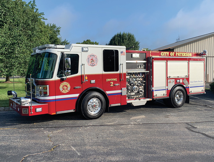 Paterson (NJ) Fire Department Engine 2 has a 1,500-gpm pump, 500-gallon tank, and no crosslays. It has two rear 2½-inch discharges plus a 2½ inch discharge in the main hosebed for a preconnect. There's also a rear 5-inch large-diameter hose inlet, a front suction inlet, and a low hosebed—58.50 inches from ground level. Many career engines are opting for the low hosebed style.