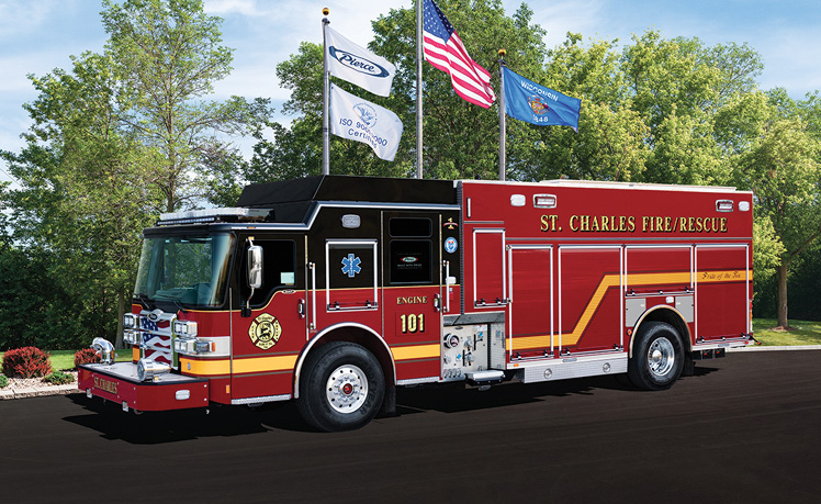 Pierce—St. Charles (IL) Fire Department PUC pumper. Dash CF cab and chassis; Cummins L9 450-hp engine; Pierce 1,500-gpm single-stage PUC pump; UPF Poly 750-gallon water tank; Will-Burt Chief NS2.6-600WHL light tower; Harrison 8-kW generator. Sold by John Kenna, Global Emergency Products, Aurora, IL.