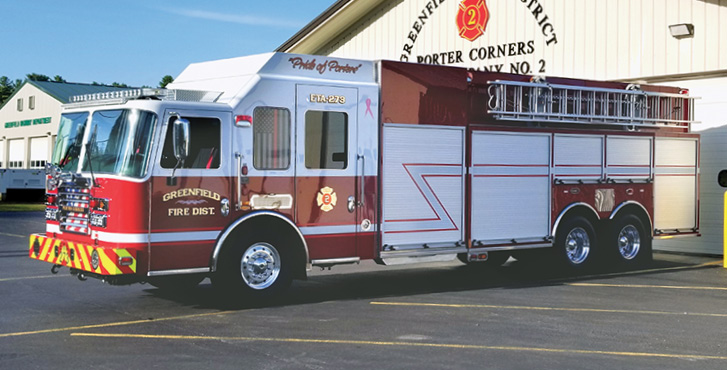 KME—Greenfield (NY) Fire Department rescue-tanker. Predator cab and chassis; Cummins X12 500-hp engine; Hale Qmax 1,500-gpm pump. UPF Poly 3,000-gallon water tank; Harrison 10-kW generator; Command Light light tower; AXIS™ Smart Truck Vehicle Protection System. Dealer: Aaron Warren, Bulldog Fire Apparatus—New York, Latham, NY. (Photo courtesy of the Greenfield Fire Department.)