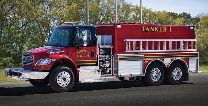 Pierce—Pontiac (IL) Rural Fire Protection District tanker. Freightliner M2 cab and chassis; Cummins L9 350-hp engine; Hale MBP 1,000-gpm pump; UPF Poly 3,000-gallon water tank. Dealer: Larry Graves, Global Emergency Products, Aurora, IL.