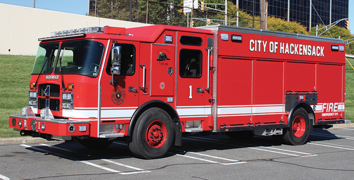 E-ONE—Hackensack (NJ) Fire Department rescue. Cyclone cab and chassis; Cummins X12 500-hp engine; 18-foot walk-around rescue body; Onan 30-kW generator. Dealer: Chris DuBois, Absolute Fire, South Plainfield, NJ. (Photo by Ron Jeffers.)