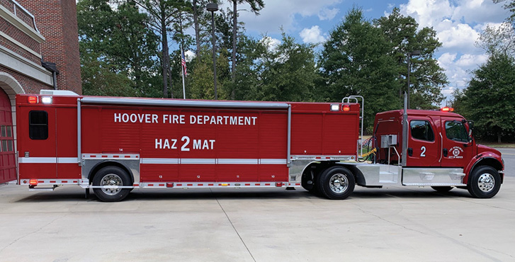 Hackney Emergency Vehicles—Hoover (AL) Fire Department technical rescue trailer. Freightliner M2 106 4-door tractor; Cummins L9 350-hp engine; 32.5-foot Hackney walk-around 14-compartment trailer with walk-in rear command center; Onan 25-kW generator; Whelen LED NFPA warning lights package. Dealer: Earl Spangler, Hackney Emergency Vehicles, Washington, NC.