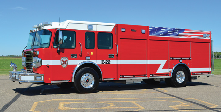 CustomFIRE—Jordan (MN) Fire Department pumper. Spartan Metro Star cab and chassis; Cummins L9 450-hp engine; Waterous CMC20 1,250-gpm pump; UPF Poly 1,000-gallon water tank; 25-gallon foam cell; FoamPro 1600 single-agent foam system; front bumper extension with hosewell; encapsulated roll-up door protection. Dealer: Wayde Kirvida, Custom Fire Apparatus Inc, Osceola, WI.
