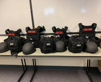 Falmouth Fire Department has body armor, helmets, and medical bags for each seat position on its fire and EMS apparatus.