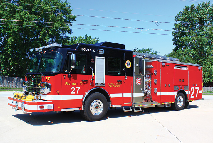 Squad 27 was built by Alexis Fire Equipment on a Spartan Gladiator ELFD chassis with a 10-inch raised roof and an Alexis aluminum body. (Photos by author.)