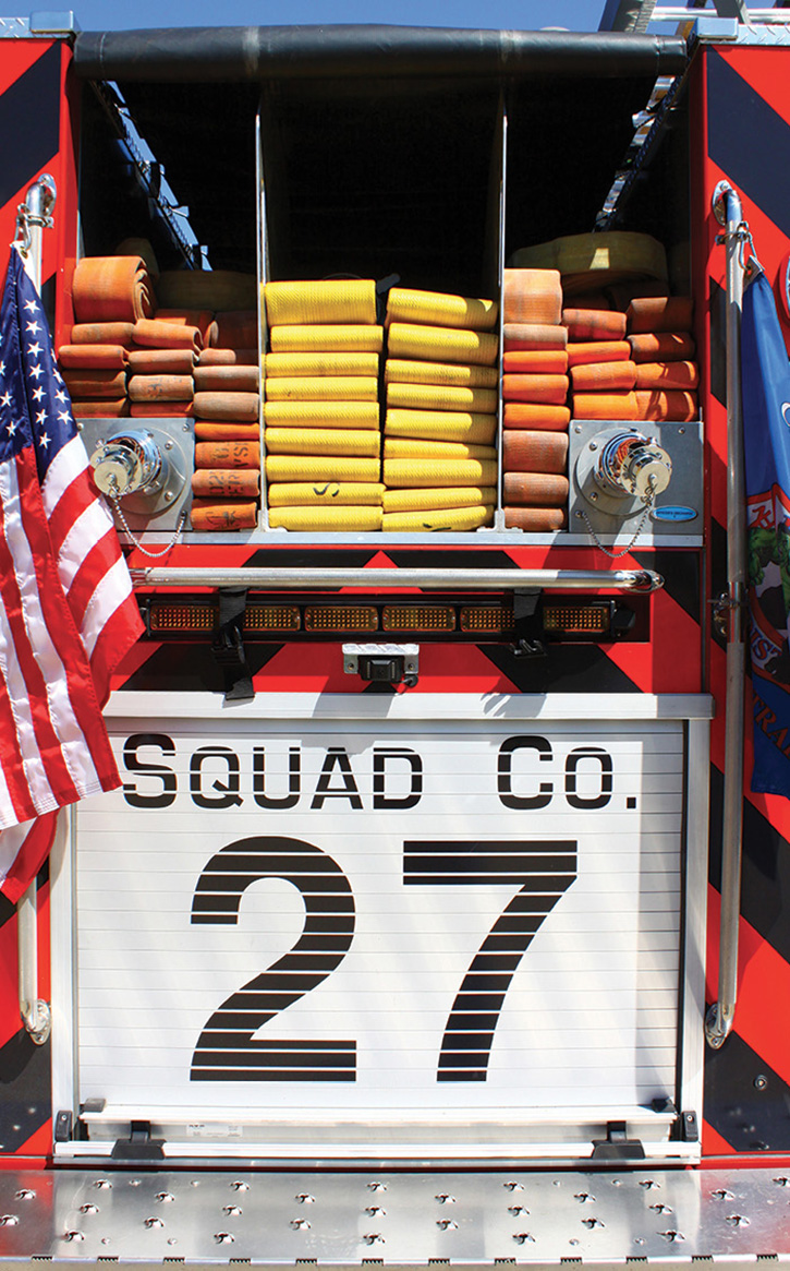The rear hosebed of Squad 27.