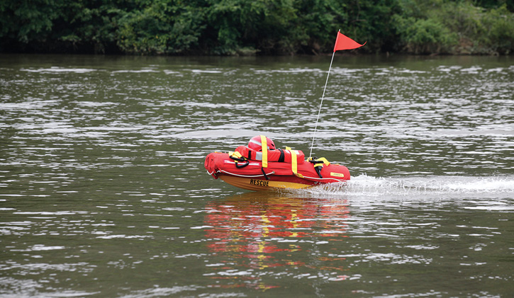 The water rescue drone EMILY, made by Hydronalix, has a 2.4-kW electric motor, an eight-foot-perimeter grab rope, easy-grip handles for victims to grab onto, and a waterproof two-way VHF marine band radio with remote microphone. (Photo 5 courtesy of Hydronalix.)