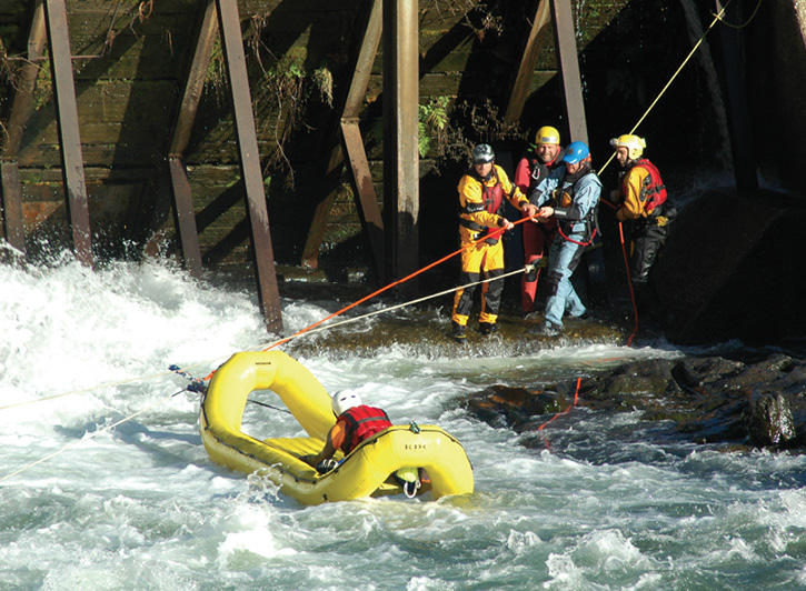 Oceanid makes the RDC Rapid Deployment Craft inflatable rescue raft, shown here controlled by tethers in a swift water situation. (Photo 8 courtesy of Oceanid.)