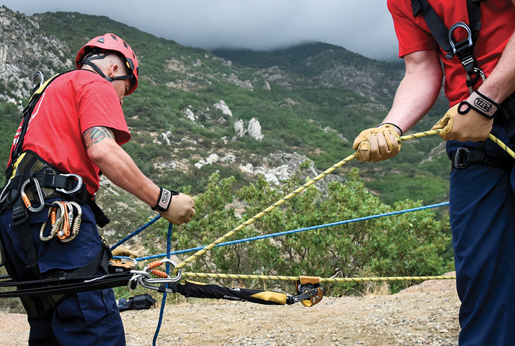 The ASAP is a self-trailing mobile fall arrest device that is designed to be used on the static, kernmantle ropes used in the fire service. (Photo courtesy of Petzl America.)