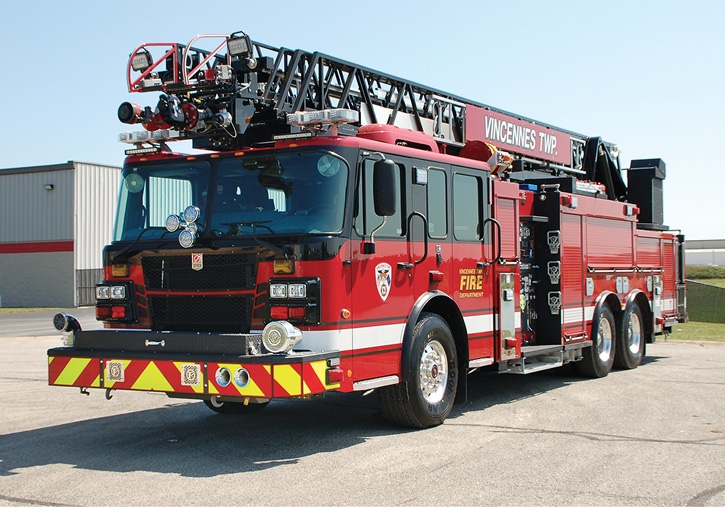 The front of the truck with swivel front suction and rescue tool compartment.