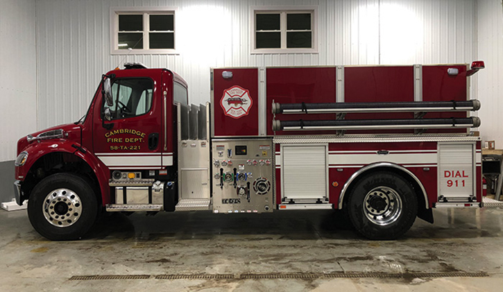 Cambridge, New York, took delivery of this E-ONE two-door Freightliner 2,000-gallon tanker with a 500-gpm Hale pump. Note the three low-mounted crosslays ahead of the pump house.