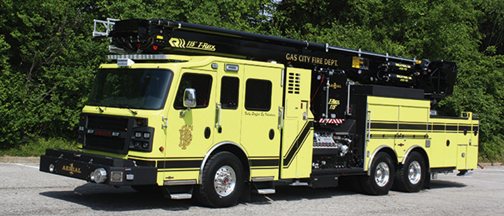 The Gas City (IN) Volunteer Fire Department took delivery of a 115-foot T-Rex Rosenbauer aerial device with a 2,000-gpm pump, a 300-gallon tank, and numerous electrically operated valves on its pump panel.