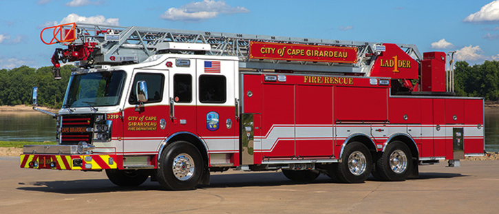 This 109-foot Viper aerial, part of a six-rig order for the four-station Cape Girardeau (MO) Fire Department does not have a pump or booster tank. Its ground ladder complement includes a long extension ladder with Bangor poles—an oddity but still a necessity on some of today's ladder trucks. Compartment doors are a mixture of roll-ups and hinged.