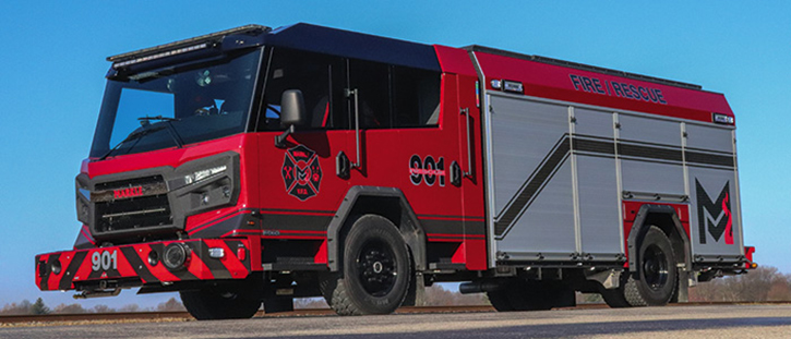 The Markle (IN) Volunteer Fire Department took delivery of the first Rosenbauer Avenger pumper in Indiana. It features a 1,500-gpm pump, a 750-gallon tank, a CAFS, and rear bumper crosslays. The upper body side sheets are tapered inward to match the futuristic cab design.