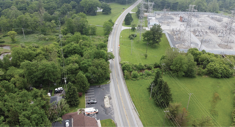 A sweeping curve outside of Downingtown, Pennsylvania. The measured radius of this curve is approximately 2,087 feet, which is not that severe. However, a vehicle will still experience lateral g-force as it traverses this curve.
