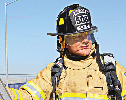The Morning Pride Ben 2 fire helmet made by Honeywell First Responder Products is made of FYR-Glass™, a proprietary custom blended material, and incorporates EZ-Flips™ eye protection.
