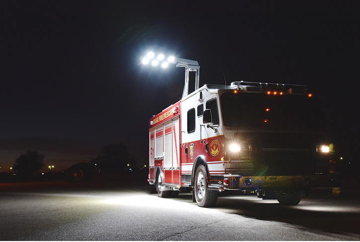 Command Light makes the KL Knight series light tower, shown here with six LED light heads.