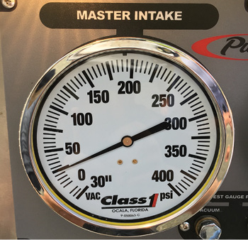 he residual intake pressure during the test where 4-inch soft suction was hooked to the front intake