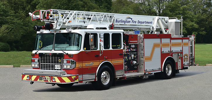 President John Witt of Safetek Emergency Vehicles Ltd. in Canada says this 23-meter (75-foot) Smeal quint on a single-rear-axle Spartan for the Burlington (Ontario) Fire Department is a typical build for Canadian departments. It has a 2,000-gpm pump; a 400/20-gallon water/foam tank; a 214-inch wheelbase; an overall length of 37 feet 10 inches; and a ground ladder complement of a 35-foot 3-section, a 24-foot 2-section, a 10-foot attic, and a 16-foot roof ladder on the aerial's right side base section. It is 11 feet 6 inches high.