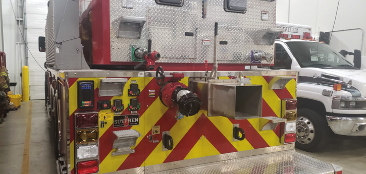 The rear of the apparatus has a remote pump panel for drafting from the rear of the tanker.The valves we chose were the large-diameter discharge