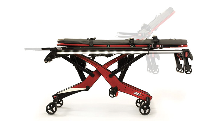 The Ferno iNX Integrated Patient Transport and Loading System electrically rises and lowers into an ambulance module.